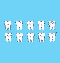 funny teeth icons set doodle cartoon vector image