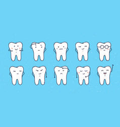 funny teeth icons set of doodle cartoon vector image