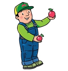 Funy farmer or gardener with apples vector
