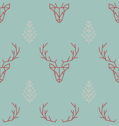 Geometric seamless scandinavian pattern a deer vector