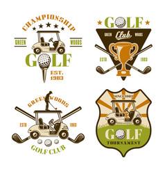 Golf and golfing set sport emblems vector
