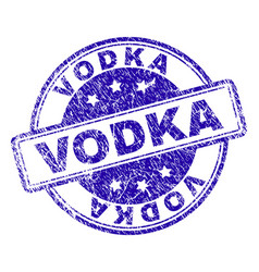 grunge textured vodka stamp seal vector image