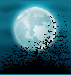 Halloween night background with bat and full moon vector
