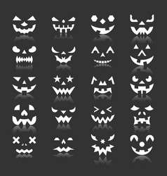 halloween pumpkin face icon set with reflection vector image