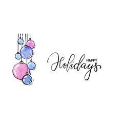 hanging watercolor christmas ball hand drawn vector image