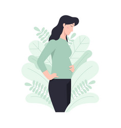 Happy pregnant woman holds her belly vector