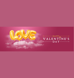 happy valentines day greeting banner with golden vector image