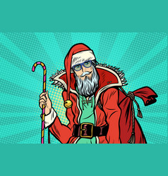 hipster santa claus with sweets and christmas gift vector image
