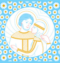 Icon of lovers peter and fevronia vector