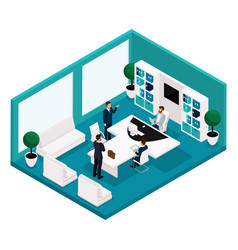 isometric office manager front view coaches vector image