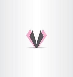 letter v magenta black logo design vector image