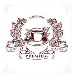 logo coffee house premium badge vector image