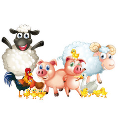 Many types of farm animals vector
