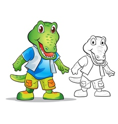 Mascot cute crocodile cartoon vector