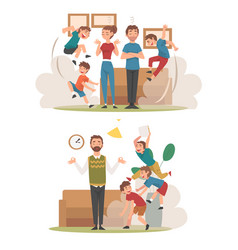 meditating parents and mischievous children set vector image