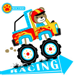 Monster truck cartoon with funny driver vector