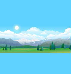 mountains and forest panorama sky with clouds and vector image