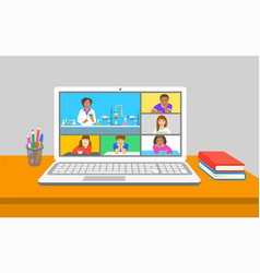 Online education chemistry class teleconference vector