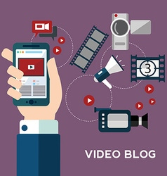 Online video design concept set with blogger media vector image