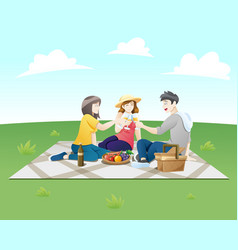 people on a picnic vector image