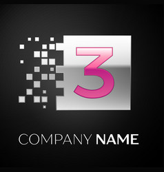 pink number three logo symbol in the silver square vector image