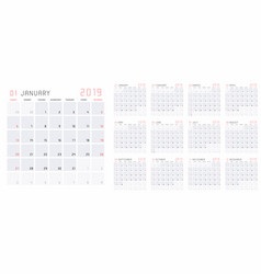 planning calendar template 2019 vector image