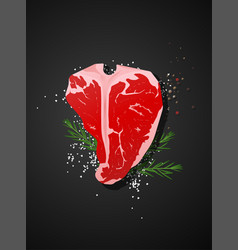 Raw beef t-bone steak on dark background vector