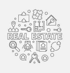 real estate round in outline vector image