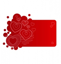 red frame with contour hearts vector image
