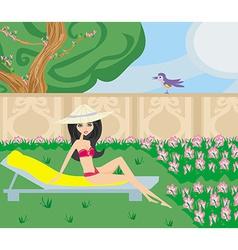 Relax in the garden vector
