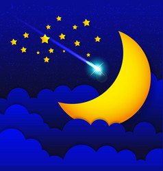 retro of a smiling moon good night vector image