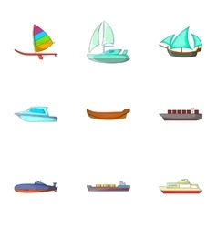 Riding on water icons set cartoon style vector image
