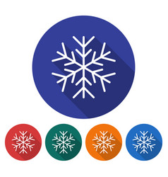 Round icon of snowflake flat style with long vector
