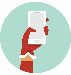 Santa hand holding smartphone vector