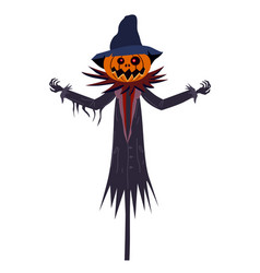 scarecrow character halloween with a jack o vector image