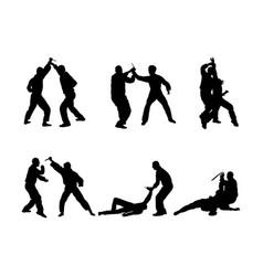 Self defense battle silhouette man fighting skill vector