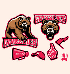 set brown bear mascot vector image
