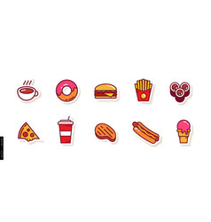 set colored icons fast food dishes vector image