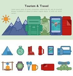 Set flat icons recreational tourism vector