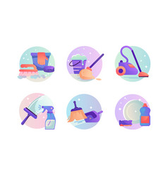 set icons with vacuum cleaner scoop and broom vector image