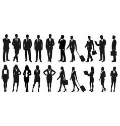 set of businesspeople silhouettes vector image