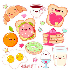 set of cute breakfast food icons in kawaii style vector image