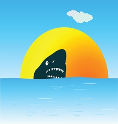 shark in the sea swimming vector image