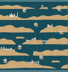 Simple seamless pattern with islands on water vector