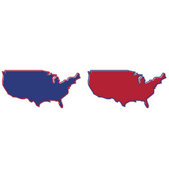 Simplified map - united states america outline vector