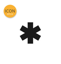 Star of life icon isolated flat style vector