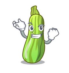 Successful fresh organic zucchini in cartoon bowl vector