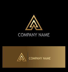 triangle gold arrow company logo vector image