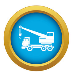Truck crane icon blue isolated vector