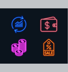 Update data coins and dollar wallet icons sale vector
